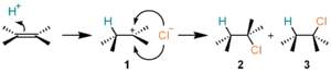 Electrophile - Image: Electrophilic addition of H Cl