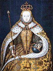 Coronation portrait of Elizabeth I in a gold robe trimmed with ermine and decorated with silver-coloured Tudor roses. She is wearing a crown and holding a gold sceptre in her right hand and a blue orb in her left, all of which are decorated with gemstones and pearls.