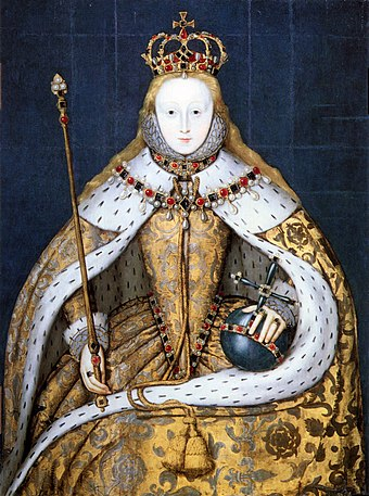 Elizabeth I wore the crown and held the sceptre and orb at the end of her coronation Elizabeth I in coronation robes.jpg