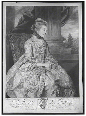 Elizabeth Montagu - Elizabeth Montagu, mezzotint engraving, by John Raphael Smith after a portrait by Sir Joshua Reynolds, published 10 April 1776, 20 x 14 inches. In 1776 the Reynolds original was in possession of her cousin, the Lord Primate of Ireland, Richard Robinson, 1st Baron Rokeby.Now recorded as part of National Trust collection, item NT 592596, mezzotint, Treasurer's House, York, but not on show.