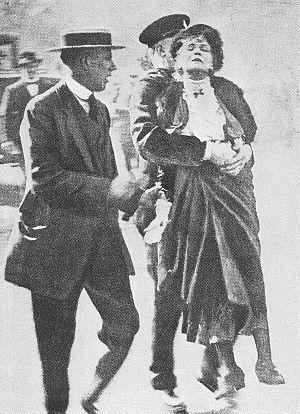 Emmeline Pankhurst being arrested at King's Ga...
