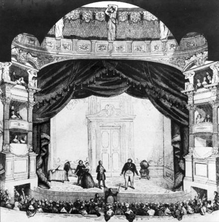 Staging of Don Pasquale at the Salle Ventadour in Paris (1843) Engraving premiere Don Pasquale at Theatre Italien 1843 - La Fenice 2002 programma di sala p88.jpg