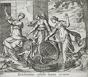 Erichthonius of Athens - Image: Erichthonius Released from His Basket LACMA 65.37.98
