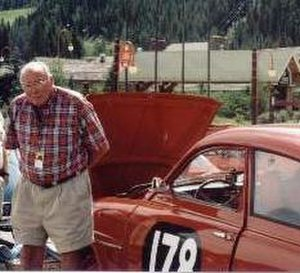 Erik Carlsson - Erik Carlsson and Saab 96 pictured in 1999, Keystone Resort, USA