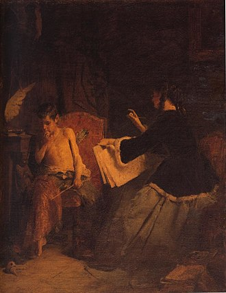 Greek academic art of the 19th century - Nikolaus Gysis, Eros and the Painter.