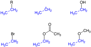 Ethyl group - Ethyl group (highlighted blue) as part of a molecule, as the ethyl radical, and in the compounds ethanol, bromoethane, ethyl acetate, and ethyl methyl ether.