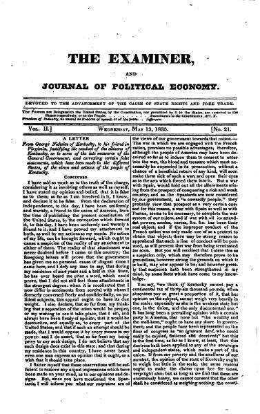 File:Examiner, Journal of Political Economy, v2n21.djvu