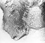 Excelsior Glacier, lake offshoot of valley glacier, trimline along lake, circa 1968 (GLACIERS 6497).jpg