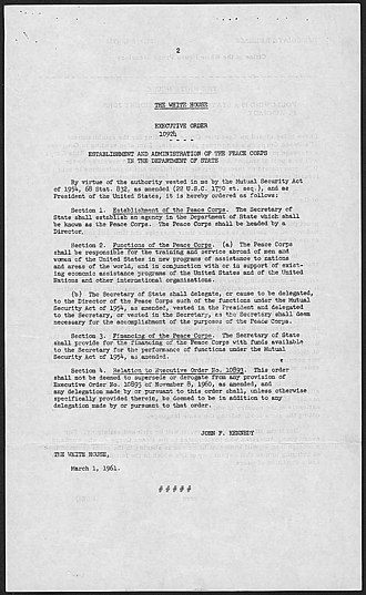 Peace Corps - Executive Order 10924
