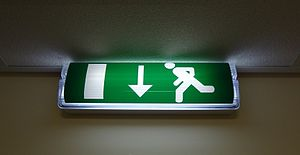 Exit sign - Emergency exit light sign in the UK