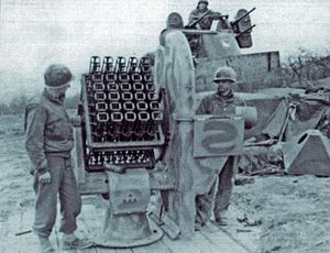 "Henschel Hs 297 - A Föhn-Gerät rocket projector captured by US troops clearly shows the origin of its occasionally used nickname of ""Beercrate flak"""