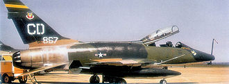 27th Special Operations Wing - North American F-100F-10-NA Super Sabre Serial 56-3867 of the 524th TFS in Vietnam-Era camouflage.