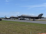 F-35A's and P-51 (33632817058).jpg