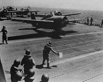 USS Wasp (CV-7) - F4Fs launching off Guadalcanal, 7 August 1942.