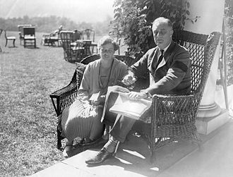 Paralytic illness of Franklin D. Roosevelt - Franklin (showing leg brace) and Eleanor at Hyde Park (1927)