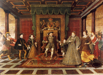"An Allegory of the Tudor Succession was a gift from Elizabeth to Walsingham. The bottom of the picture is inscribed ""The Queen to Walsingham this tablet sent; Mark of her people's and her own content."" Family of Henry VIII, an Allegory of the Tudor Succession.png"