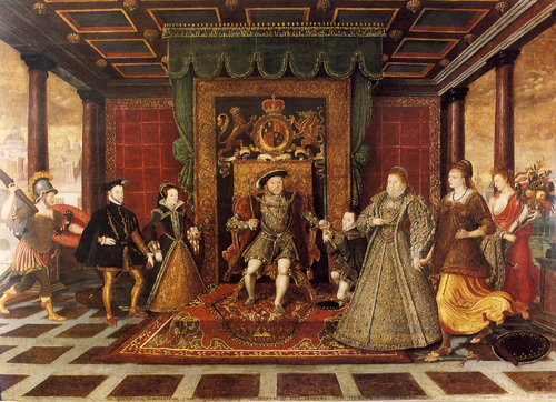 A posthumous family portrait (c. 1572) of Henry VIII showing three of Henry VII and Elizabeth of York's grandchildren: left to right Mary Tudor and her husband Phillip II of Spain; Henry VIII with his son Edward; Elizabeth is at right Family of Henry VIII, an Allegory of the Tudor Succession.png