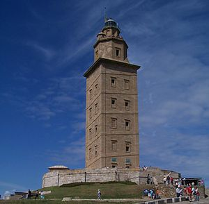 Trezenzonio - Imagen of the Tower of Hercules, from where Trezenzonio saw the Great Isle of Solstice.