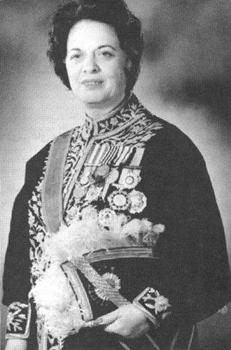 Farrokhroo Parsa - Parsa in official ministerial regalia
