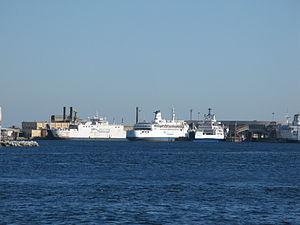 Ferries Mongibello, Rosalia and Fata Morgana - Messina Harbour - 11 Aug. 2011.jpg