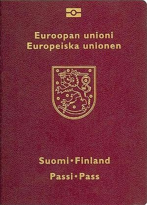 National coat of arms - The Finnish coat of arms on the front cover of a Finnish passport with both Swedish and Finnish text.