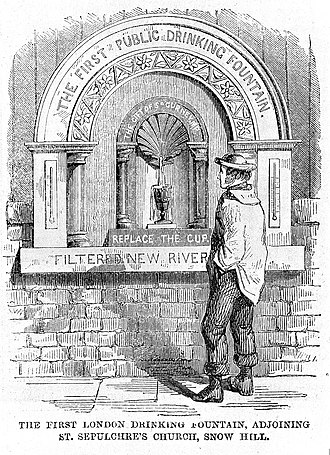 Metropolitan Drinking Fountain and Cattle Trough Association - The first drinking fountain in London, in the churchyard of St Sepulchre-without-Newgate.