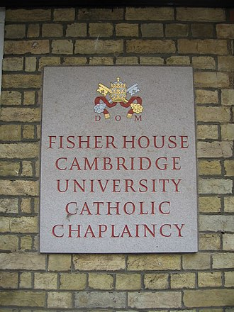Cambridge University Catholic Chaplaincy - Plaque by the entrance