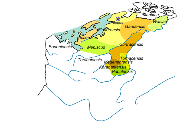 "Pagi i.e. ""shires"" of Flanders, reunion of the former marquisate of Flanders, showing all the lands subsequently reclaimed from the sea. Flandres -Pagi du Marquisat.png"