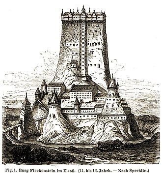 Daniel Specklin - Reconstruction of Château du Fleckenstein drawn by Specklin