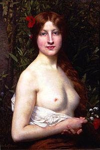 Una mujer con los pechos descubiertos (Fleurs de Champs, de Jules Joseph Lefebvre)