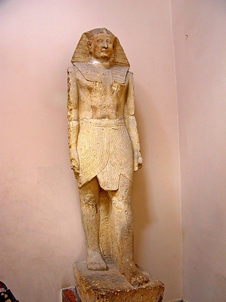 Egyptian-style statue of Ptolemy XII found at the Temple of the Crocodile in Fayoum, Egypt. Flickr - archer10 (Dennis) - Egypt-14A-024.jpg