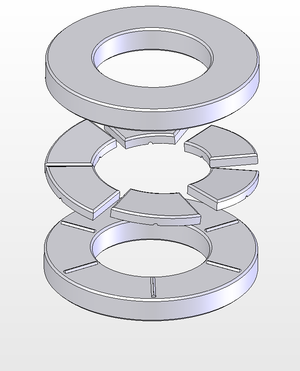 Anthony Michell - Exploded view of a Michell type thrust bearing. Note, each sector shaped pad can pivot on the ridges on the lower plate