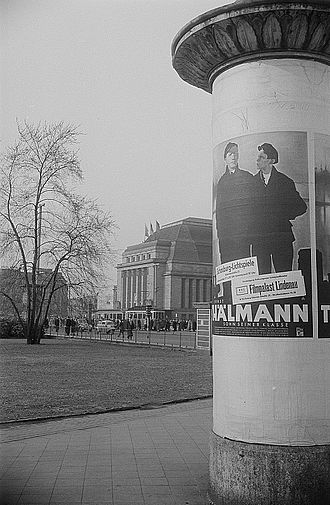 Ernst Thälmann (film) - A poster of Son of his Class near the Central Station of Leipzig, 1954.
