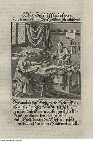 Type metal - 1698 illustration of a German typefounder preparing type-metal