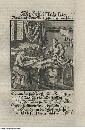 Type metal - 1698 illustration of a German typefounder preparing type-metal