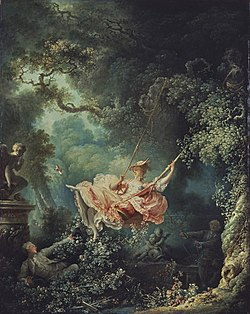 Fragonard's The Swing depicts a voyeur hidden in the bushes. As the lady goes high on the swing, he tries to take a furtive peep at her exposed genitals