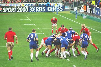 France national rugby union team - France playing Wales during the Six Nations Championship.