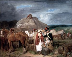 Francis Wheatley (painter) - Soldier with Country Women Selling Ribbons, near a Military Camp