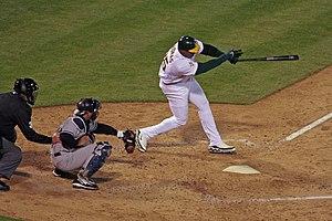 Frank Thomas mid swing on April 3, 2006.