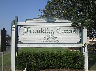 Franklin, Texas - Image: Franklin, TX sign IMG 2278