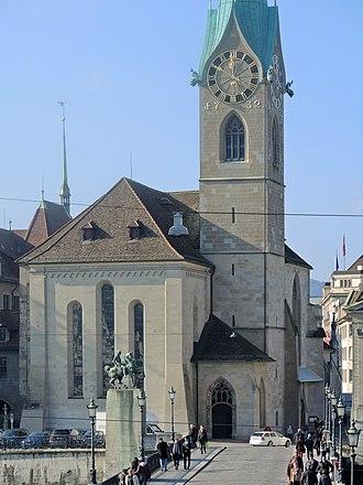 Münsterhof - Fraumünster church and its courtyard as seen from the Limmatquai