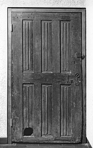 "The Miller's Tale - Door with Cat Hole (carved oak, Late Medieval period, 1450–1500, France, Walters Art Museum) This door, carved with a linen-fold decoration, was probably a back or interior door of a middle-class home. It is remarkable for its cat hole. Few doors with cat holes have survived from this early period, but the 14th-century English writer Geoffrey Chaucer described one in the ""Miller's Tale"" from his Canterbury Tales. In the narrative, a servant whose knocks go unanswered, uses the hole to peek in: ""An hole he foond, ful lowe upon a bord/ Ther as the cat was wont in for to crepe,/ And at the hole he looked in ful depe,/ And at the last he hadde of hym a sighte."""