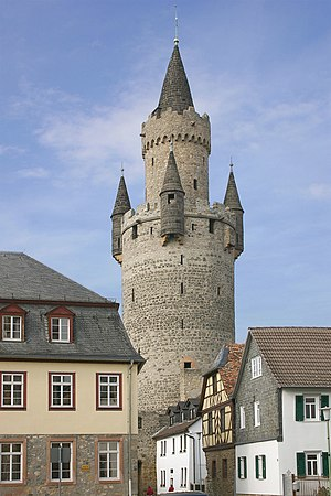 Butter-churn tower - The Adolf Tower in Friedberg in butter-churn style with its bartizans