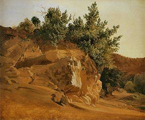 Paysage montagneux en Italie avec rocher, probablement près d'Olevano