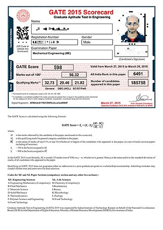 Graduate Aptitude Test in Engineering - A scorecard in the Mechanical Engineering test of GATE 2015. (The candidate's photograph, signature, name, registration number, and QR code are blurred.)