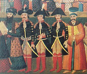 Fath-Ali Shah Qajar - General Gardane, with colleagues Jaubert and Joanin, at the Persian court of Fat′h Ali Shah in 1808.