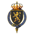 Garter encircled arms of Baudouin, King of the Belgians.png