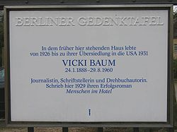 Photo of Vicki Baum white plaque