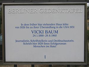 Vicki Baum - Commemorative tablet for Vicki Baum, unveiled in 1989 at the site of the house she lived in at Königsallee 45, Berlin.