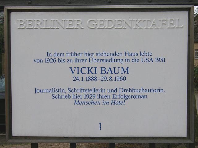 Photo of Vicki Baum white plaque